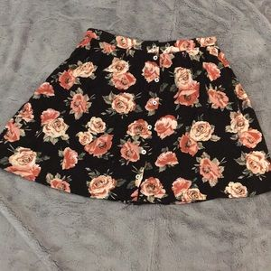 Floral Pink and Black Skater Skirt